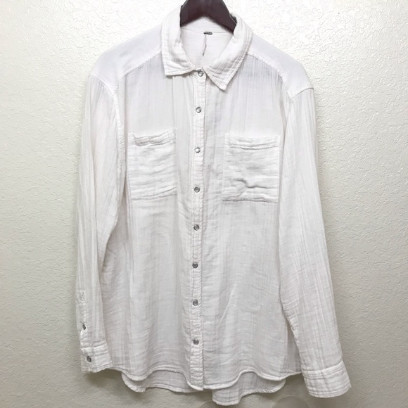 fe78df9c Free People Tops - FREE PEOPLE White gauze cotton button down top m